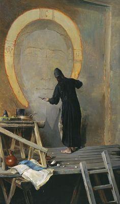 Alexander Yanov (1857-1918), The monk painter, via http://notyourbirthdayanymore.tumblr.com/