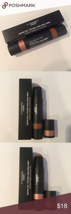 AUTHENTIC MAC STUDIO QUICKTRICK STICK Brand new in box MAC Studio Quicktrick Stick in A Latte Sheen / Semi-Sweet  Offering endless options for highlighting, contouring, bronzing or just adding the perfect pop of colour, these double-ended, multi-use sticks debut in smart shades to enhance your look anywhere, any way you choose. This multi-tasker's creamy formula is sheer enough to provide subtle yet buildable colour. MAC Cosmetics Makeup Luminizer