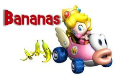 Mario Kart Party -- Banana Peel Label  I printed this in a 4X6 and put it in a frame to label the canister full of Bananas on the Power Up Buffet!