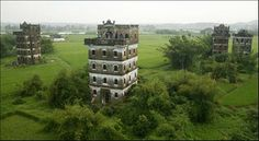 A group of Diaolou (watchtowers) in Kaiping, Guangdong Province.