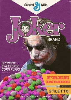 Nothing says breakfast more than mysterious colored corn puff balls possibly laden with delicious cyanide in a box that comes with FREE STILETTO! This funny concept came from the brains of Hartter and, like you. Joker Brand, Colored Corn, Types Of Cereal, Corn Puffs, All Poster, Movie Posters, Cereal Killer, Granola Cereal, Vintage Posters