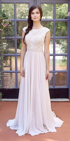 Mon Cheri Modest Wedding Dresses To Look Grate ❤ mon cheri modest wedding dresses a line with cap sleeves lace top ❤ Full gallery: https://weddingdressesguide.com/mon-cheri-modest-wedding-dresses/ #bride #wedding #bridalgown #modestweddingdresses
