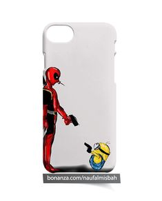 Deadpool vs Minion Marvel Comics iPhone 5 5s 5c 6 6s 7 8 + Plus X Case Cover