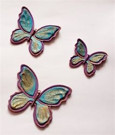 3lü Renkli Kelebek Duvar Süsü