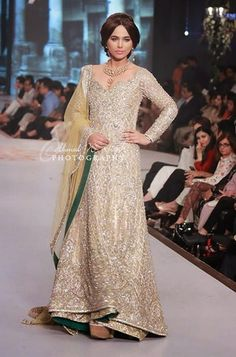 Romantic Ivory, Fawn, and Green Bordered Pakistani Bridal Gown