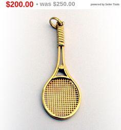 18k white gold tennis racquet pendant charm sport racket diamond sale sale figural tennis racket pendant 18k gold by berrysgems aloadofball Images