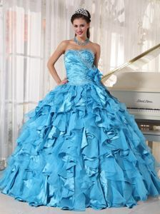 Wholesale Teal Beaded Ruffled Sweet Sixteen Dresses Online - Quinceanera 100