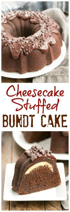 Cheesecake Stuffed Chocolate Bundt Cake | A rich chocolate cake with a dreamy surprise in the middle! @lizzydo (Rich Chocolate Icing)