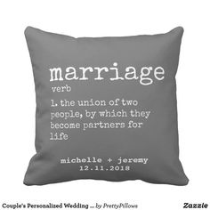 Couple's Personalized Wedding Marriage Definition Throw Pillow