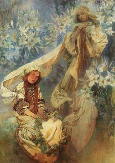 Madonna of the Lilies Painted by Alphonse Mucha