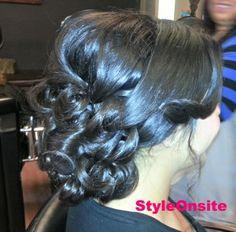 bridal updo, curls side swept bangs, weeding hair, prom, side part, big curls