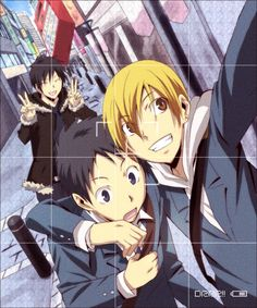 Photo bombing Izaya style!... Is it me, or is that vending machine flying towards him? (O_O' )