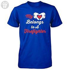 My Heart Belongs To A Firefighter - Unisex Tshirt Royal M - Birthday shirts (*Amazon Partner-Link)
