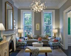Nice interior design. Gray walls, white trim