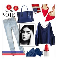"""""""Rock The Vote"""" by asapholly ❤ liked on Polyvore featuring WithChic, Hollister Co., Longchamp, L. Erickson, Bobbi Brown Cosmetics and Casetify"""