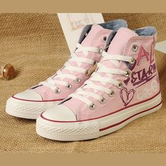 c423253233c2 Pink Lady Gaga Converse Graffiti Printed All Star High Tops Women Girls  Chuck Taylor Sneakers