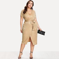 7b4262892f141 SheIn gold print wrap split front belted dress.  shein  plussize   plussizefashion Gold