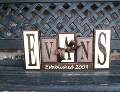 Family name blocks with wedding year by jjnewton on Etsy, $4.00
