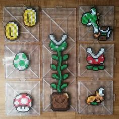 Super Mario stuff perler beads by tarawashere88