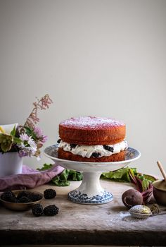 lily vanillis beetroot cake with blackberry honey creme fraiche