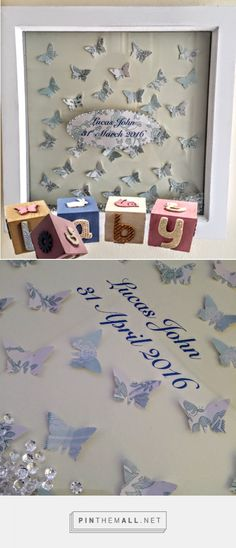 Personalised with baby's name and details, surrounded with beautiful 3D paper butterflies. Each butterfly is cut and carefully placed onto an ivory background. Both sides of each butterfly stand off the mount creating a beautiful 3 dimensional effect giving both depth and shadow. At the centre of the frame, the baby's Christening or birth details are displayed.