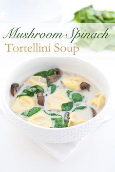 Mushroom Spinach Tortellini Soup by EclecticRecipes.com #recipe