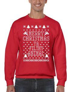 Merry Christmas Ya Filthy Animal Men's Crewneck Sweatshirt Ugly Christmas Sweaters  #christmas