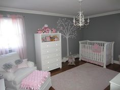 Pink and Gray are my favorite colors so I knew for sure I wanted to use them for our nursery. I didn't want to have too much pink, so I thought gray walls with pink accents would be the perfect touch!
