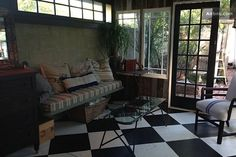 Sitting room looking out to brick patio