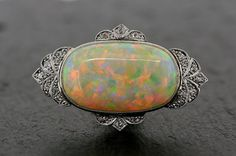 Art Deco Opal Brooch - Antique Opal & Diamond 18ct Gold and Platinum Art Deco Brooch