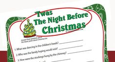 Twas the Night Before Christmas game tests how well you know Twas the Night Before Christmas story. A fun printable game for Christmas Eve, family gatherings and Christmas parties.