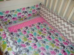 Custom Elephant Walk Bundle crib bedding set