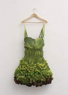 sarah illenberger - cocktail dress was made from various greens to illustrate an article about fashionable vegetables