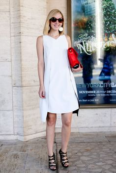 White Dress and Red Bag