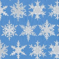 Falling Snow BLue Paper Cocktail Napkins - 20 per package