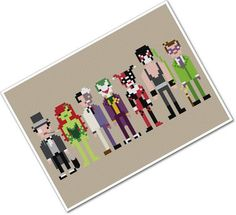 Pixel People - Batman's Enemies - PDF Cross-stitch Pattern. $6.00, via Etsy.