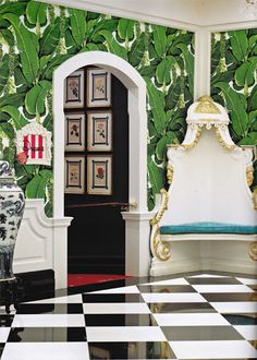 Dorothy Draper's Brazillance wallpaper, made famous at the Greenbrier Hotel in West Virginia.