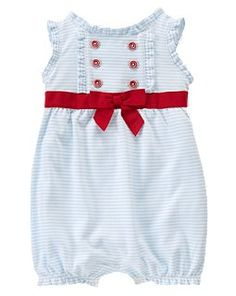 This is one of the cutest rompers I've ever seen.  I love the retro look of it and that pop of the red on the light blue.