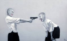 ARTIST: Liu Fei (刘飞)'s art is like the female version of fellow Chinese painter, Yue Minjun's laughing man, only more menacing with her assortment of weapons.  via: #Yellowmenace |  #ChineseArt #YangGallery http://yellowmenace.tumblr.com/tagged/Chinese%20art