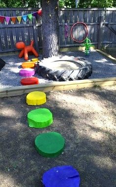 ideas for kids backyard activity center with tire