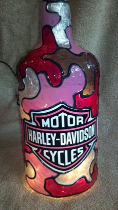 Harley Davidson Pink Large Stained Glass Bottle by debrascottage1, $30.00