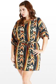 Sneak Peek Aztec Plus Size Tunic Dress