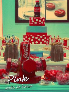 Coca-Cola Birthday Party Ideas | Photo 28 of 36 | Catch My Party 50th Party, Birthday Party Themes, Birthday Invitations, Birthday Ideas, 50s Party Decorations, Coca Cola Party, Paintball Party, Sports Birthday, Vintage Party