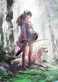 Princess Mononoke nicely not really herbut that is s - Anime Wolf Manga Anime, Art Manga, Art Anime, Inspiration Art, Character Inspiration, Character Art, Dnd Characters, Fantasy Characters, Fantasy Kunst