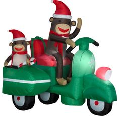 Kaycees Corner Super Store - Christmas Decor: Inflatable Sock Monkeys In Scooter, $131.99 (http://www.kayceescorner.com/products/christmas-decor-inflatable-sock-monkeys-in-scooter.html)