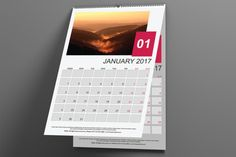 Wall Calendar 2017 English Version by Florin Chitic on @creativemarket