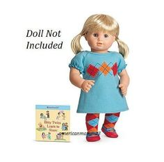 Amazon.com: American Girl Bitty Baby Twins Aqua Argyle Dress Outfit for Dolls + Book-NEW IN BAG: Toys & Games