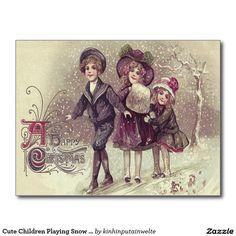 Cute Children Playing Snow Winter Postcard