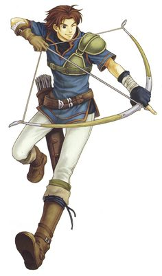 """Wil - Fire Emblem: Blazing Sword; 17 yr old Archer who joins Lyndis's party in the Taliver Mountains & gives them the name """"Lyndis's Legion."""" is best described as a cheery & optimistic person, treating most, if not all, of his companions as a friend at the cost of formalities. has an outgoing & extroverted personality, though at times it inadvertently causes him to grate on others. Yet he can also be serious & protective of those he cherishes."""