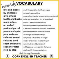Binomials in English with images ile ilgili görsel sonucu English Vocabulary Words, English Phrases, Grammar And Vocabulary, English Idioms, English Writing, English Study, English Words, English Lessons, English Grammar